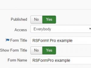 RSForm!Pro Form Info Basic Settings