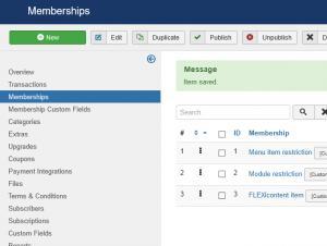 Memberships listing
