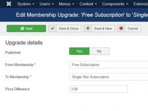 Membership Upgrade Create or Edit