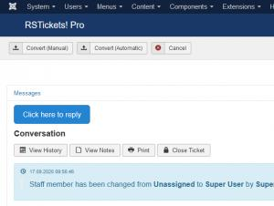 Backend Ticket Layout - Messages tab