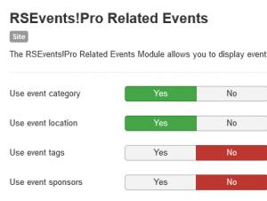 Related events module configuration