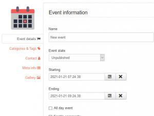 Adding an Event in the frontend