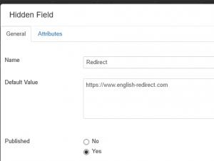 Set Up Redirect through Hidden Field