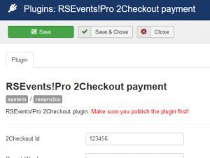 RSEvents!Pro 2Checkout configuration