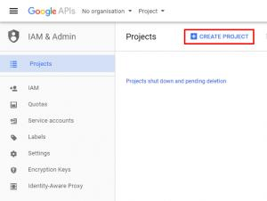 RSSeo! Google Api Console - create project