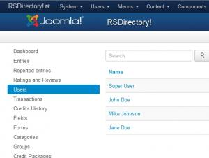 Users listing