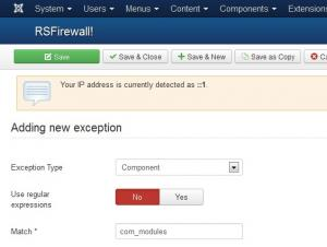 Creating an exception for all modules