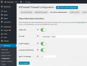 RSFirewall! Two Factor Authentication
