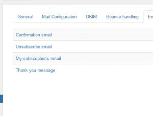 Emails configuration tab