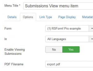RSForm!Pro Submissions - View Menu Item backend configuration