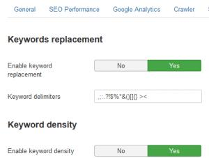 Keywords configuration tab