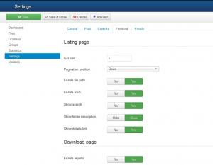 Settings for the frontend area