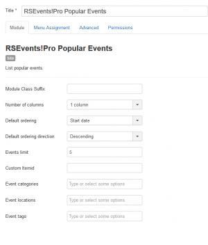 RSEvents!Pro Popular Evens Module Columns