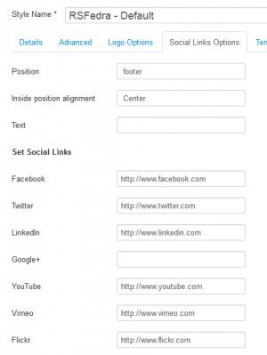 RSFedra! Configuration - Social Links Options tab