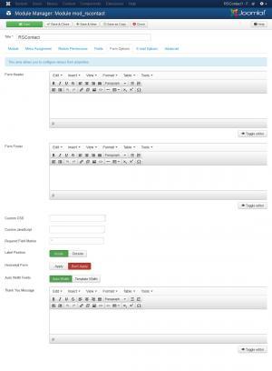Form Options tab