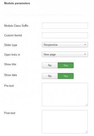 Slider Module Configuration - Module Parameters