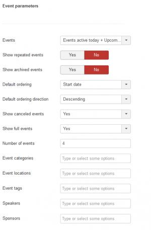Event parameters - slider module