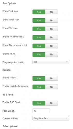 RSBlog! frontend configuration view