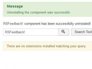 Success uninstall message