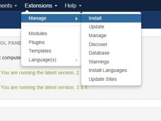Joomla! extension manager