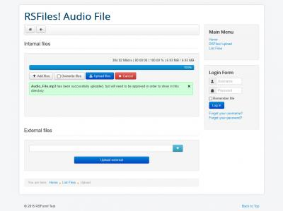 RSFiles! Upload Audio File