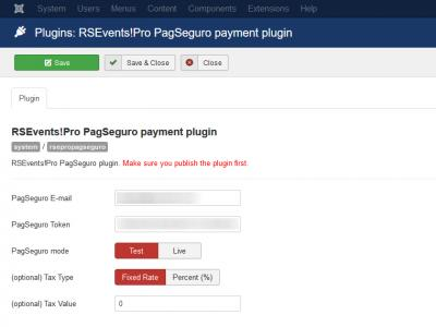 RSEvents!Pro PagSeguro Payment Plugin Configuration