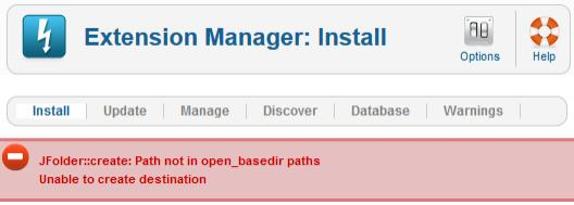JFolder::create: Path not in open_basedir paths