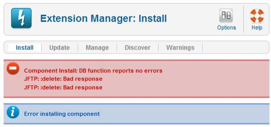 Component Install: DB function reports no errors
