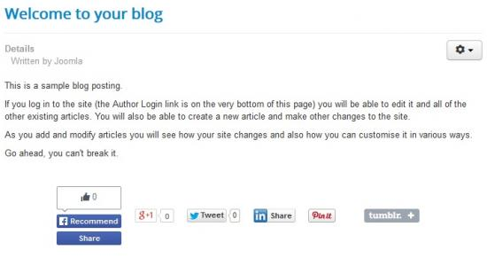 RSSocial! in a Joomla! Content Article - Frontend