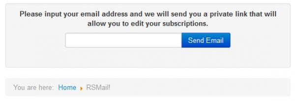 The new RSMail! menu item - Show Subscriptions