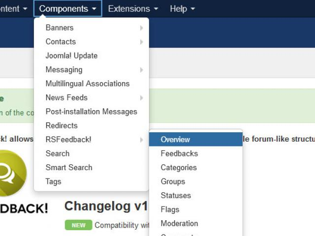 You can now access RSFeedback! through the Components menu