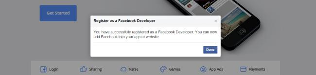 Facebook Register Developer Complete
