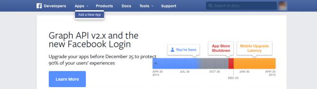 Facebook Add a New App