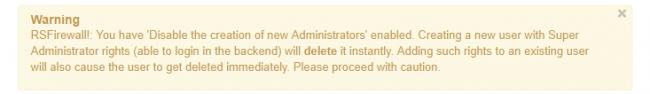 Users Manager Warning Message