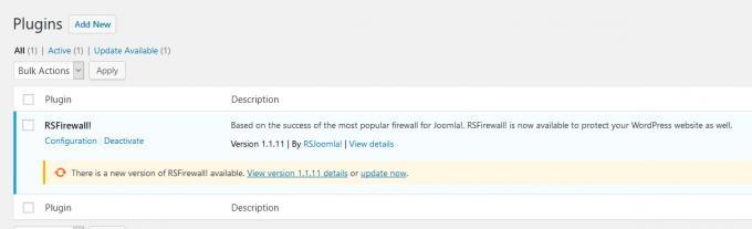 WP RSFirewall! Update notification