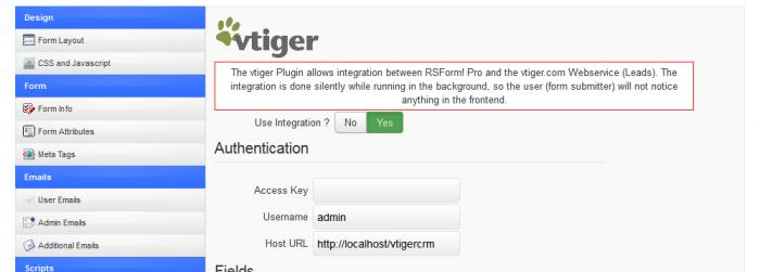 vtiger Integration Plugin Configuration