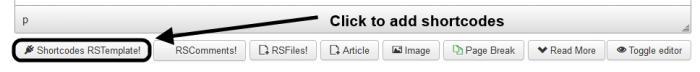 Shortcodes Editor Button
