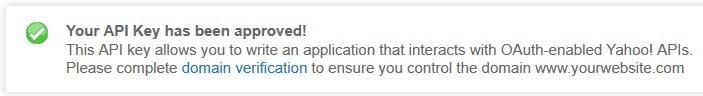 yahoo application confirmation message
