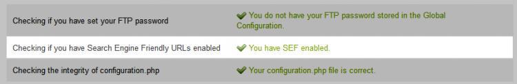 RSFirewall! System Check Joomla! Configuration - SEF