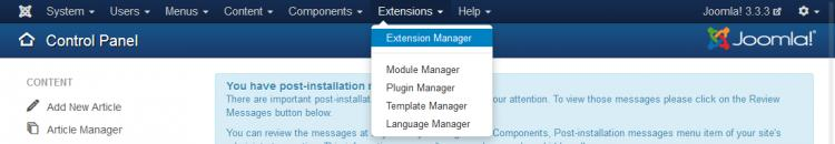 Head to Extensions - Extension Manager