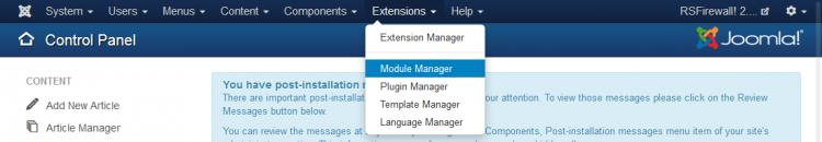 Extensions - Module Manager