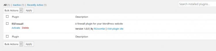 RSFirewall! Wordpress uninstall