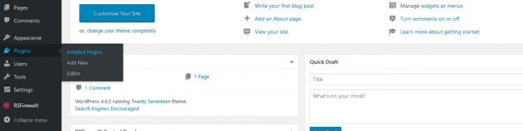 RSFirewall! Wordpress Uninstalling step 1