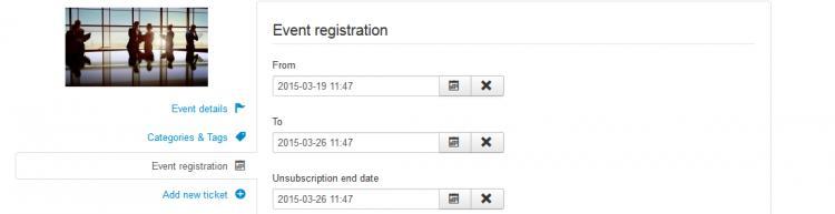 Event registration tab