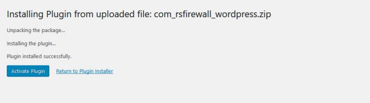 RSFirewall! Wordpress plugin successfully installed