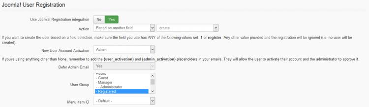 Configuration Options - Joomla! User Registration area