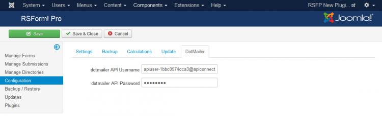 RSFormPro - Configuration - DotMailer tab