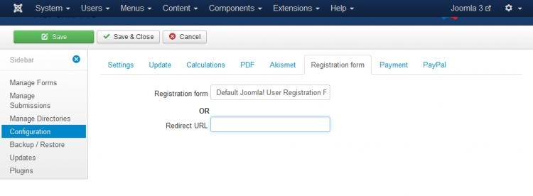 RSForm!Pro User Registration Configuration
