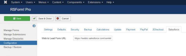 RSForm!Pro Salesforce integration tab