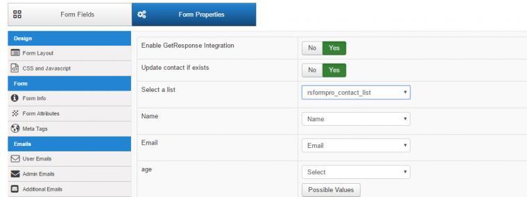 RSForm!Pro GetResponse Plugin configuration page